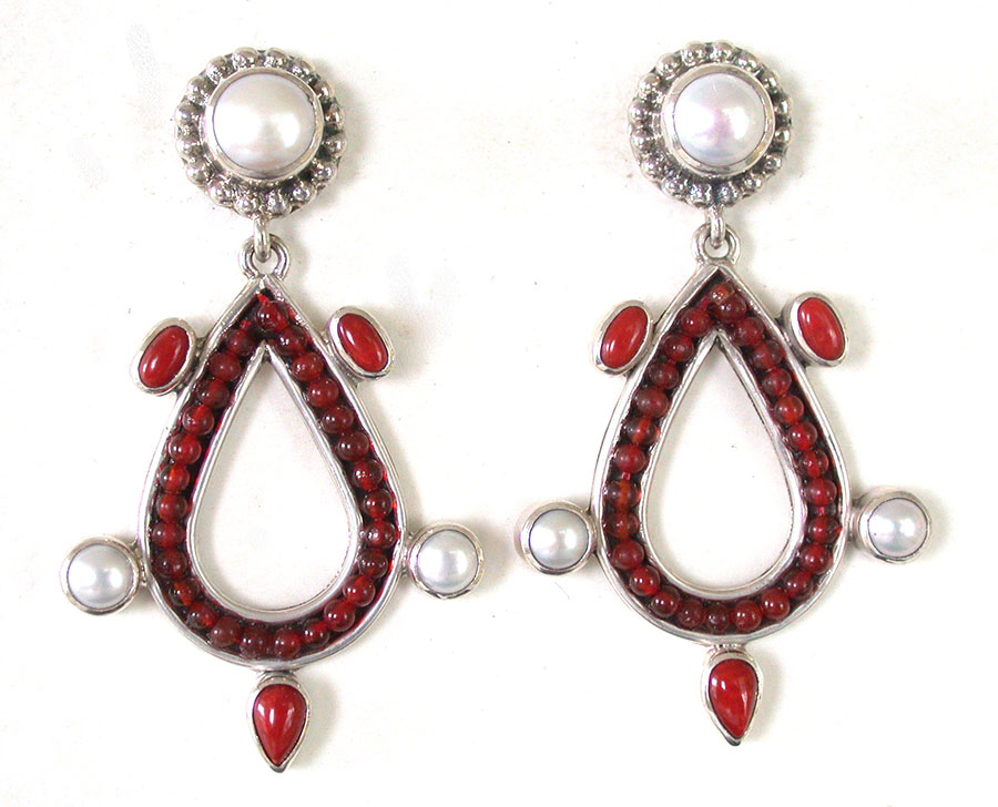 Amy Kahn Russell Online Trunk Show: Freshwater Pearl & Bamboo Coral Post Earrings | Rendezvous Gallery