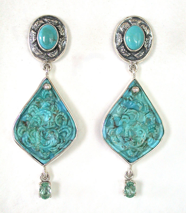 Amy Kahn Russell Online Trunk Show: Turquoise & Celestial Quartz Post Earrings | Rendezvous Gallery