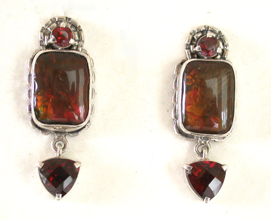 Amy Kahn Russell Online Trunk Show: Quartz, Garnet & Ammolite Clip Earrings | Rendezvous Gallery