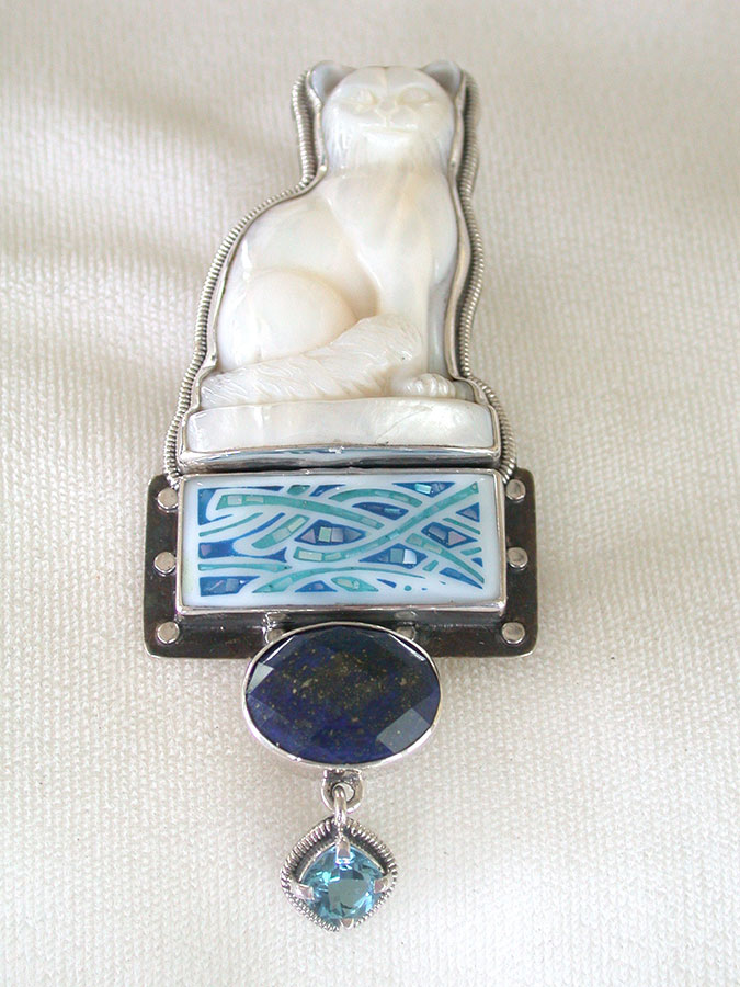 Amy Kahn Russell Online Trunk Show: Mother of Pearl, Gemstone Mosaic, Lapis Lazuli & Quartz Pin/Pendant | Rendezvous Gallery