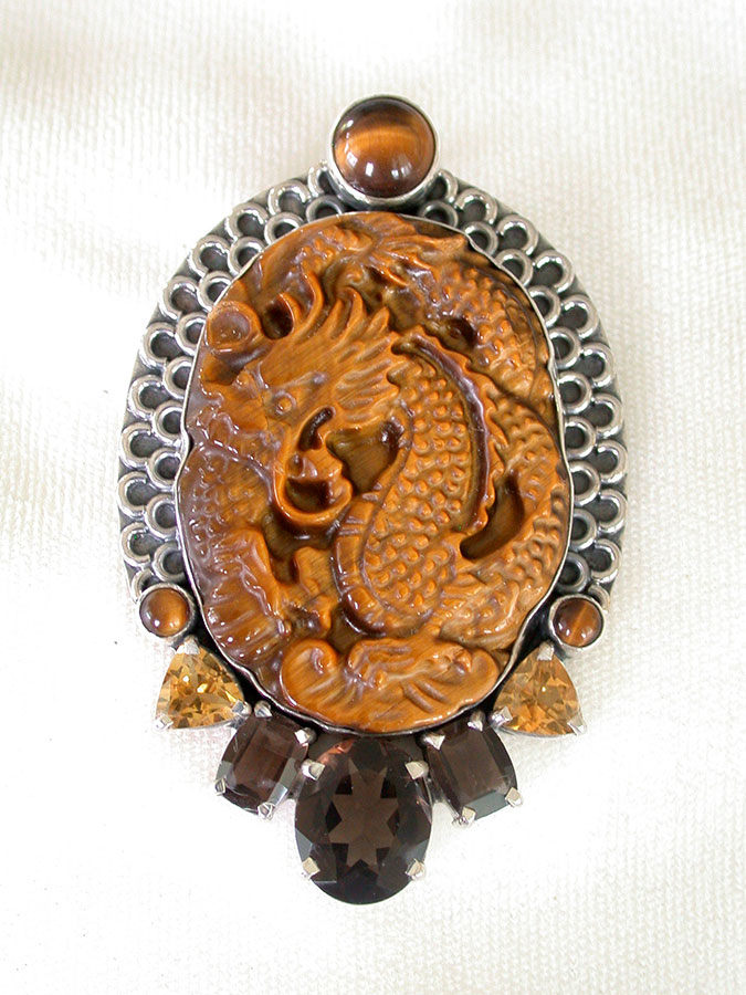 Amy Kahn Russell Online Trunk Show: Tiger Eye, Hessonite, Citrine & Cognac Quartz Pin/Pendant | Rendezvous Gallery
