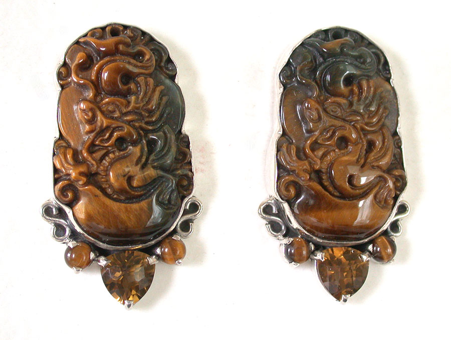 Amy Kahn Russell Online Trunk Show: Carved Tiger Eye & Quartz Post Earrings | Rendezvous Gallery