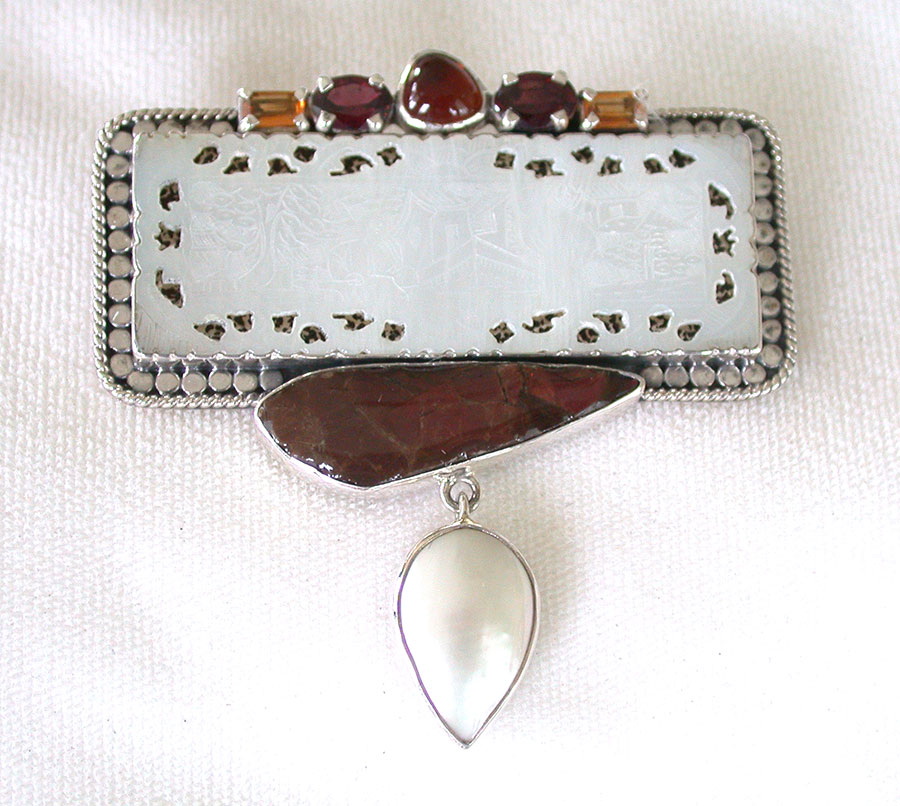 Amy Kahn Russell Online Trunk Show: Hand Carved Mother of Pearl, Ammolite & Pearl Pin/Pendant | Rendezvous Gallery