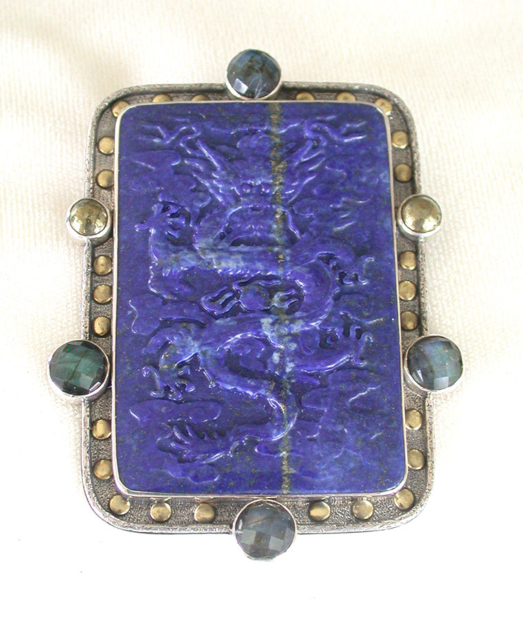 Amy Kahn Russell Online Trunk Show: Carved Lapis Lazuli, Labradorite & Chalco Pyrite Pin/Pendant | Rendezvous Gallery