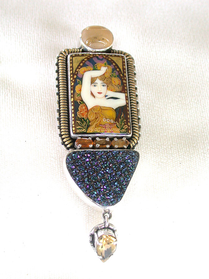 Amy Kahn Russell Online Trunk Show: Russian Hand Painting on Black Onyx, Drusy & Citrine Pin/Pendant | Rendezvous Gallery