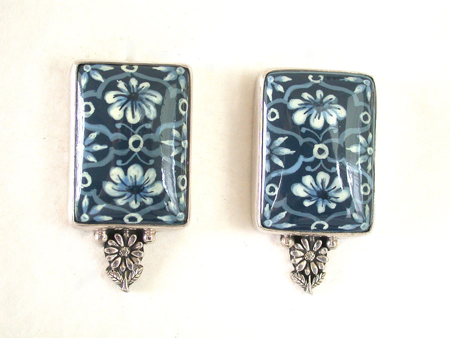 Amy Kahn Russell Online Trunk Show: Hand Painted Sodalite Clip Earrings | Rendezvous Gallery