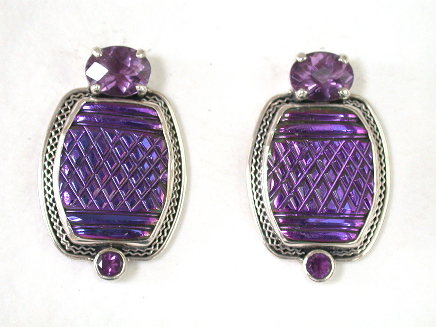 Amy Kahn Russell Online Trunk Show: Amethyst & Carved Glass Clip Earrings | Rendezvous Gallery