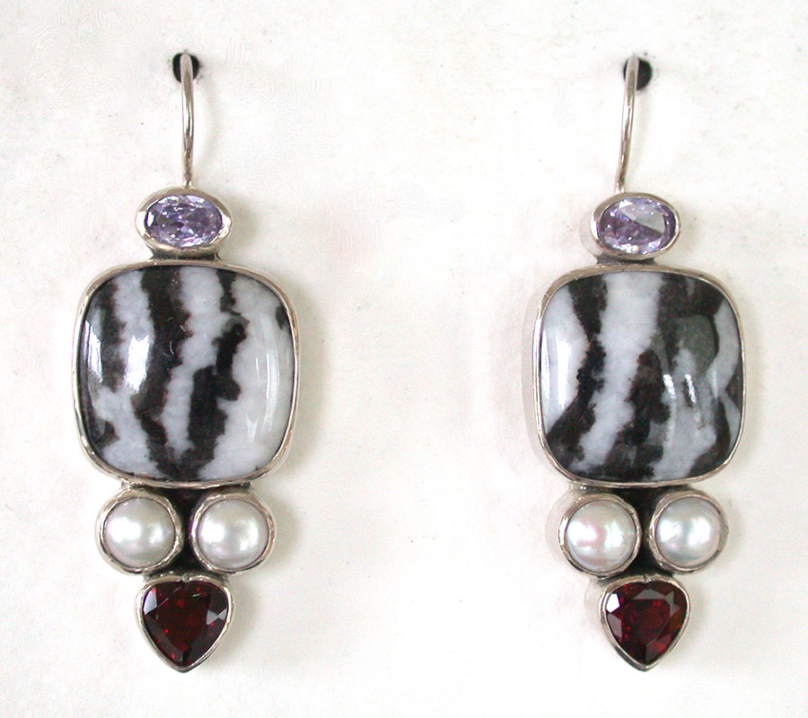 Amy Kahn Russell Online Trunk Show: Topaz, Onyx, Pearl & Garnet Earrings | Rendezvous Gallery