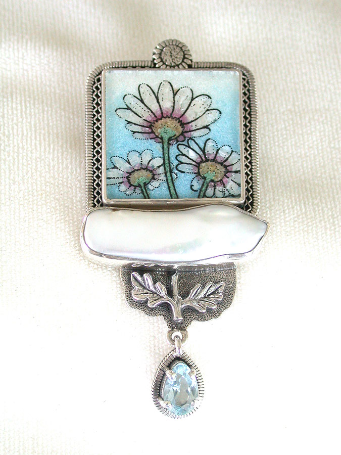 Amy Kahn Russell Online Trunk Show: Gemstone Mosaic, Freshwater Pearl & Blue Topaz Pin/Pendant | Rendezvous Gallery