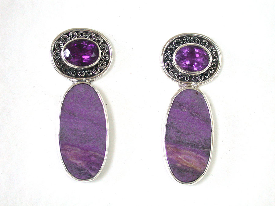 Amy Kahn Russell Online Trunk Show: Amethyst & Sodalite Post Earrings | Rendezvous Gallery