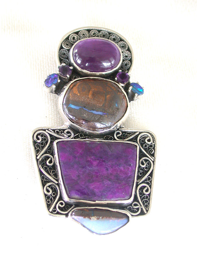 Amy Kahn Russell Online Trunk Show: Amethyst, Opal, Boulder Opal & Sodalite Pin/Pendant | Rendezvous Gallery