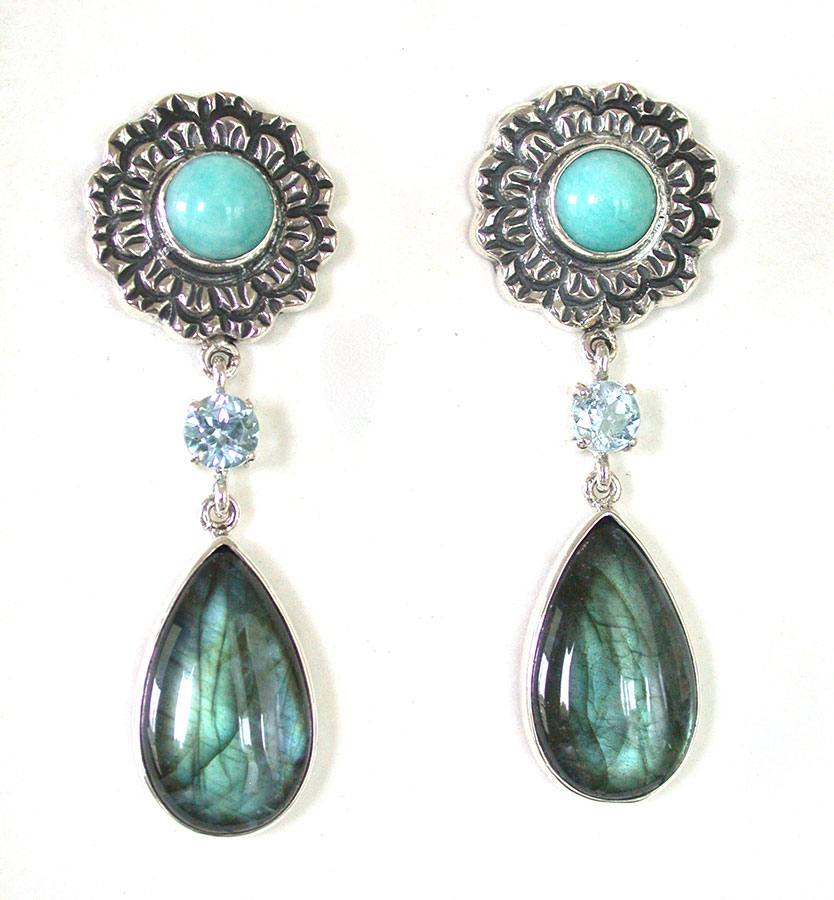 Amy Kahn Russell Online Trunk Show: Amazonite, Blue Topaz & Labradorite Post Earrings | Rendezvous Gallery