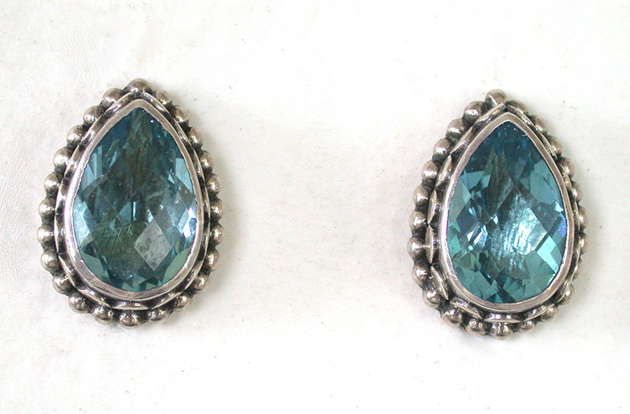Amy Kahn Russell Online Trunk Show: Faceted Blue Topaz Clip Earrings | Rendezvous Gallery