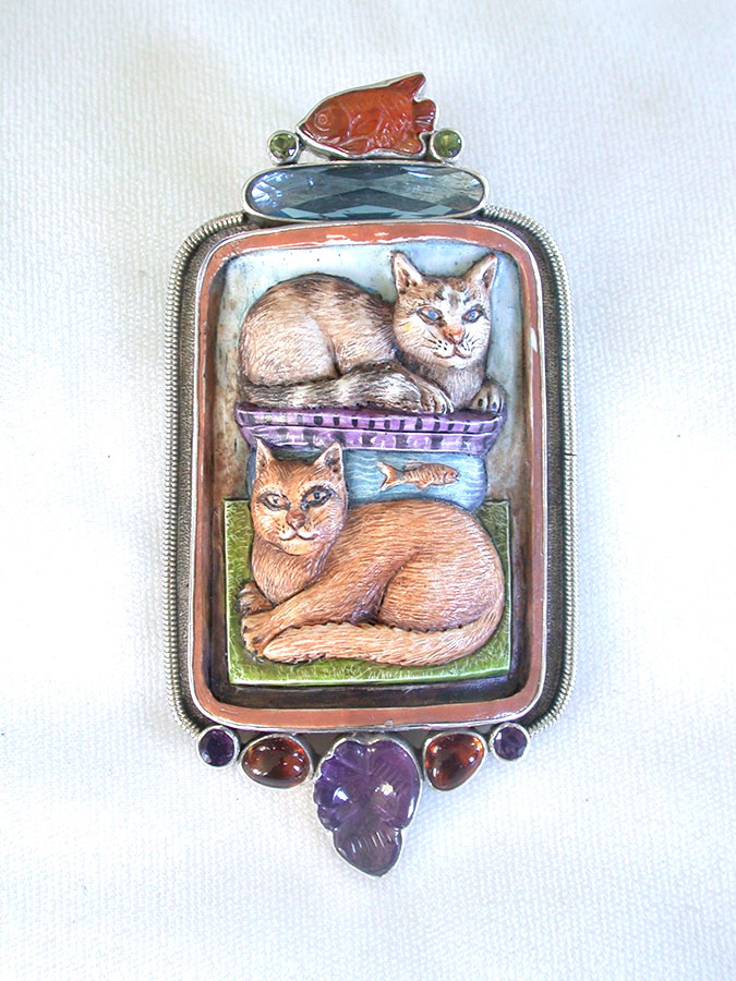Amy Kahn Russell Online Trunk Show: Carnelian, Quartz & Hand Carved/Painted Bone Cats Pin/Pendant | Rendezvous Gallery