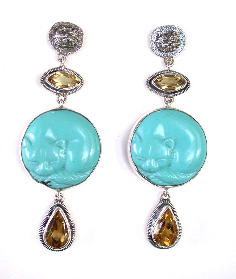 Amy Kahn Russell Online Trunk Show: Citrine & Turquoise Post Earrings | Rendezvous Gallery