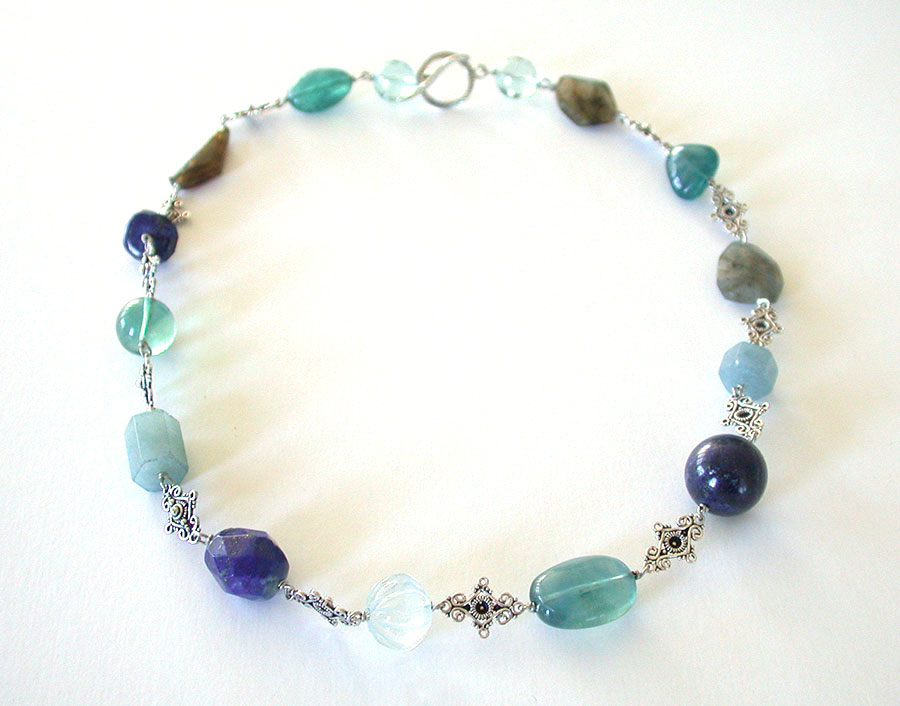 Amy Kahn Russell Online Trunk Show: Labradorite, Lapis Lazuli, Fluorite & Aquamarine Necklace | Rendezvous Gallery