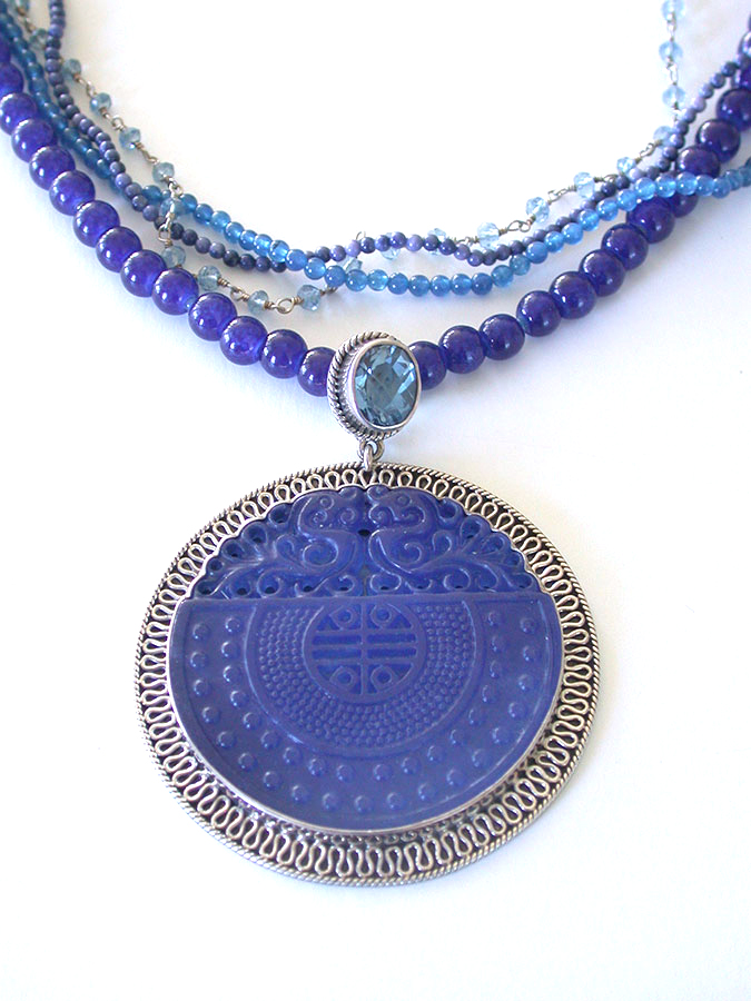 Amy Kahn Russell Online Trunk Show: Hand Carved Blue Agate & Angelic Crystal Necklace | Rendezvous Gallery