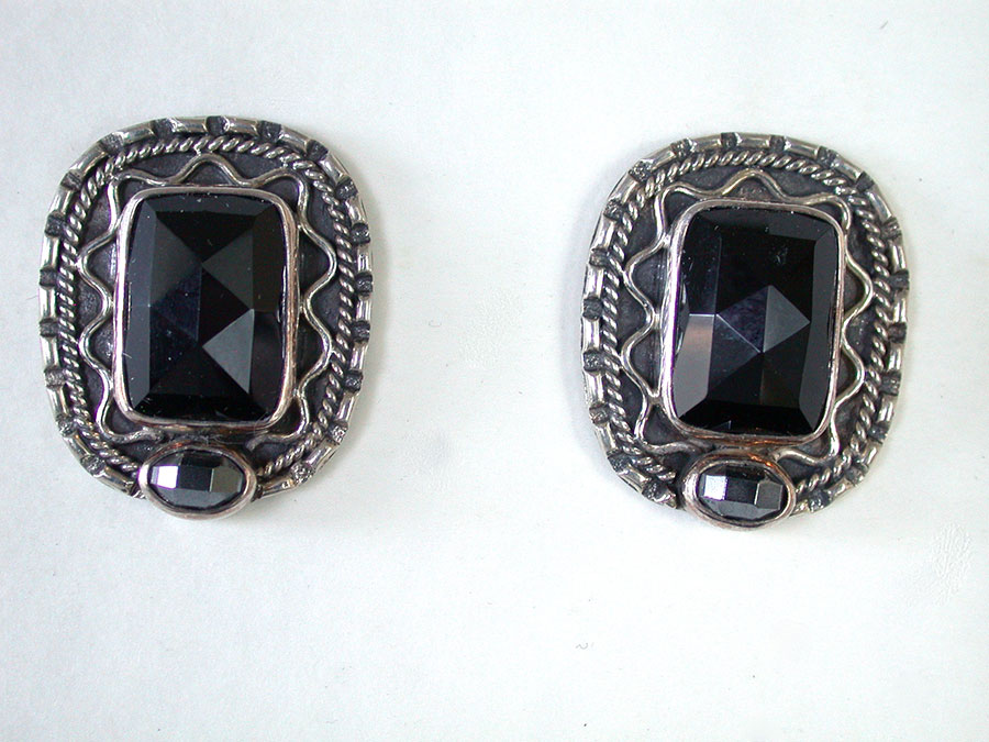 Amy Kahn Russell Online Trunk Show: Black Onyx & Hematite Post Earrings | Rendezvous Gallery