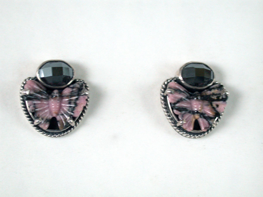 Amy Kahn Russell Online Trunk Show: Carved  Rhodocrosite & Hematite Post Earrings | Rendezvous Gallery