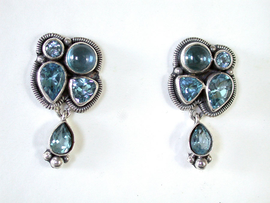 Amy Kahn Russell Online Trunk Show: Blue Topaz & Quartz Post Earrings | Rendezvous Gallery