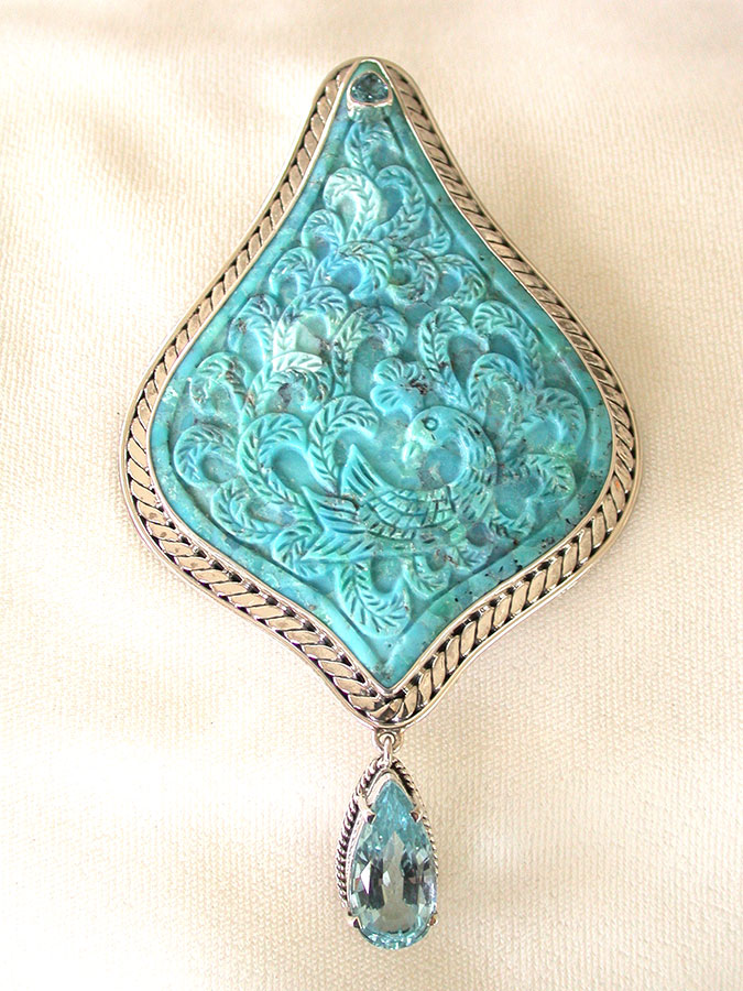 Amy Kahn Russell Online Trunk Show: Faceted Quartz & Carved Turquoise Pin/Pendant | Rendezvous Gallery
