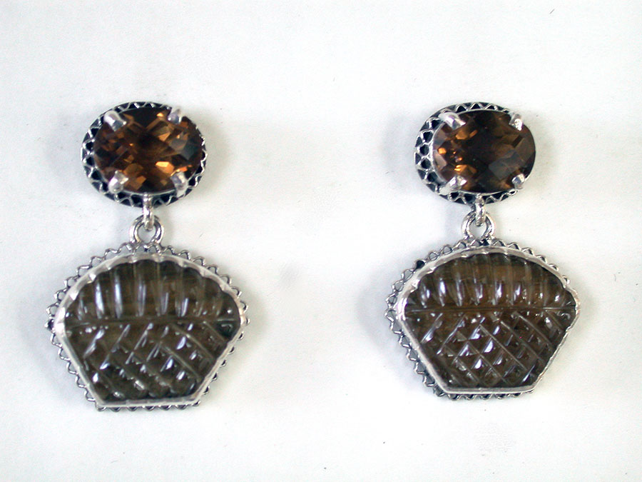 Amy Kahn Russell Online Trunk Show: Whiskey Quartz & Carved Cognac Quartz Post Earrings | Rendezvous Gallery