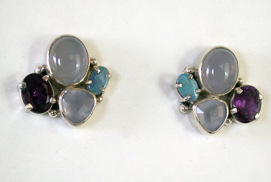 Amy Kahn Russell Online Trunk Show: Chalcedony, Amethyst & Opal Post Earrings | Rendezvous Gallery