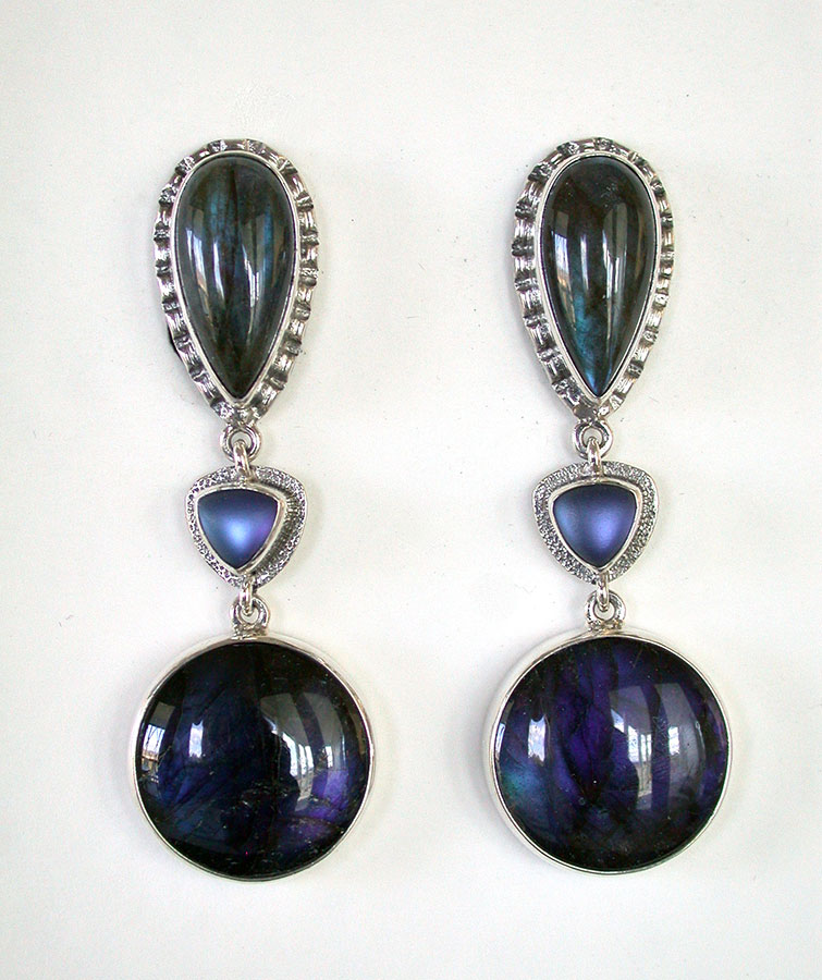 Amy Kahn Russell Online Trunk Show: Labradorite & Quartz Clip Earrings | Rendezvous Gallery