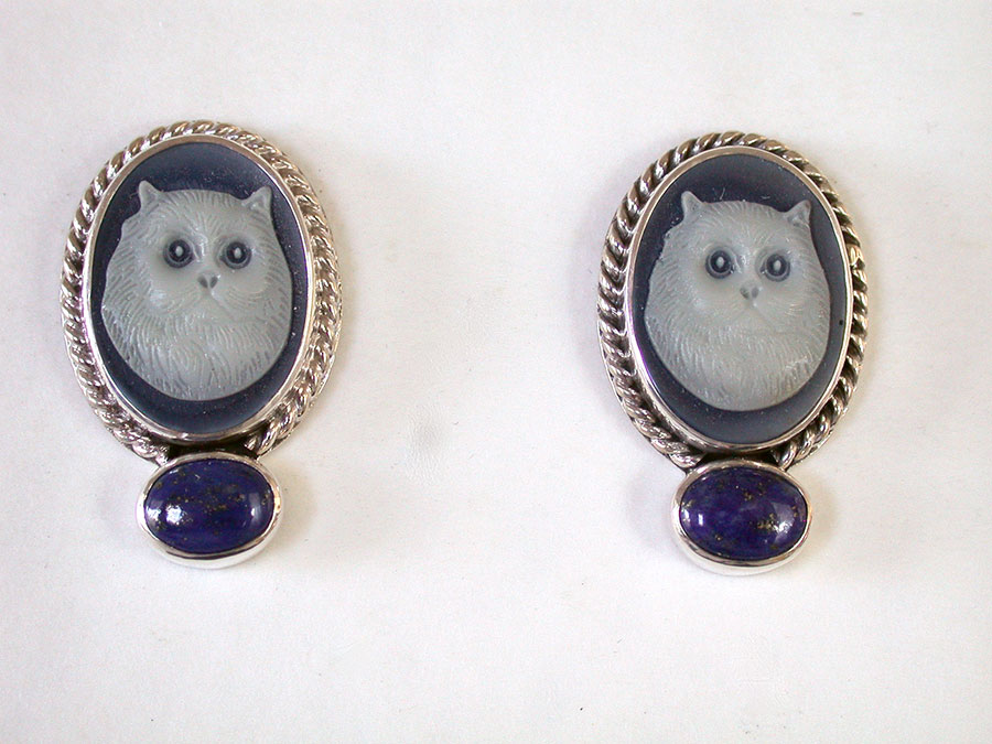Amy Kahn Russell Online Trunk Show: Cat Cameo & Lapis Lazuli Post Earrings | Rendezvous Gallery