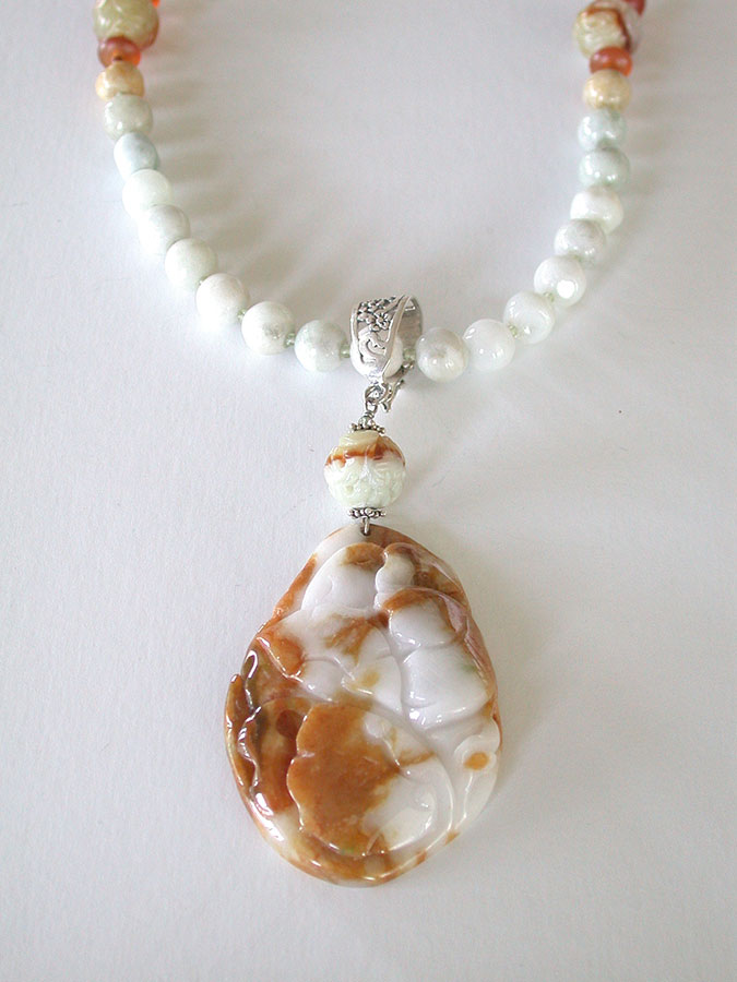 Amy Kahn Russell Online Trunk Show: Carved/Smooth Jade & Amber Necklace | Rendezvous Gallery