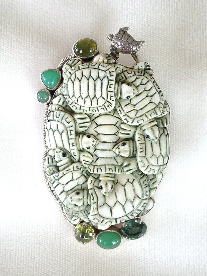Amy Kahn Russell Online Trunk Show: Hand Carved Bone, Peridot & Chrysoprase Pin/Pendant | Rendezvous Gallery