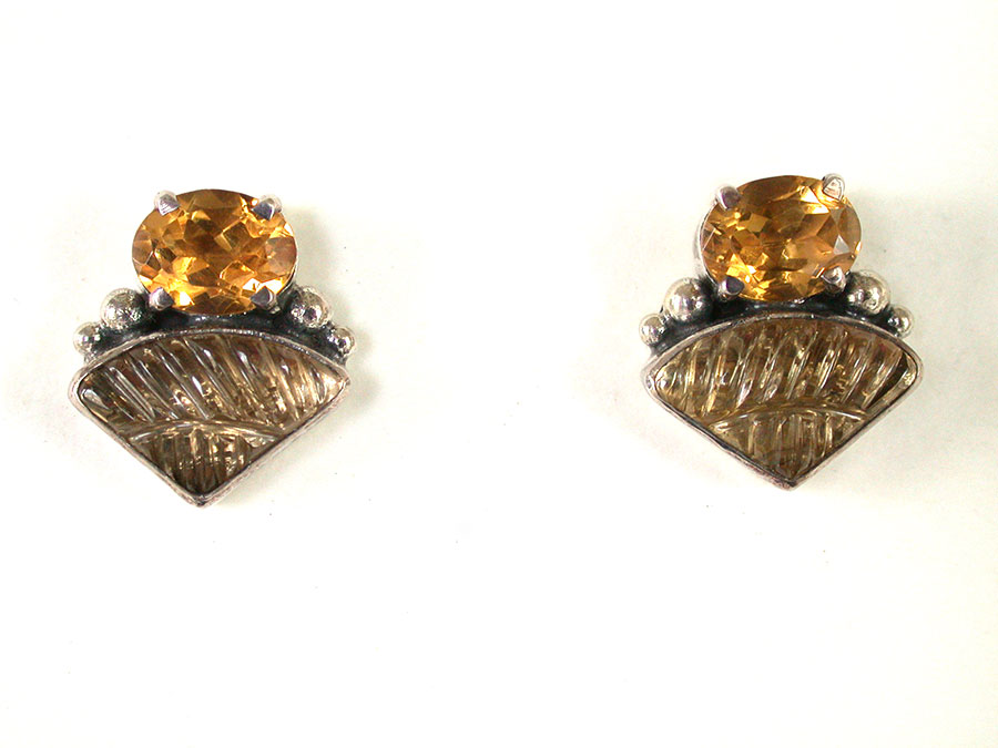 Amy Kahn Russell Online Trunk Show: Citrine & Carved Agate Post Earrings | Rendezvous Gallery