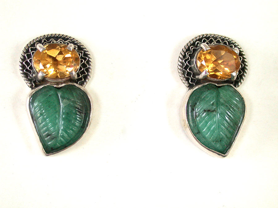 Amy Kahn Russell Online Trunk Show: Citrine & Carved Emerald Post Earrings | Rendezvous Gallery