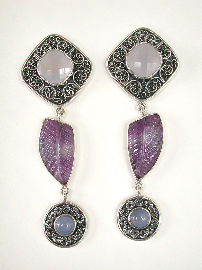 Amy Kahn Russell Online Trunk Show: Chalcedony & Amethyst Clip Earrings | Rendezvous Gallery