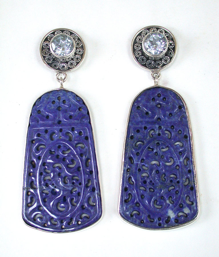 Amy Kahn Russell Online Trunk Show: Blue Topaz & Carved Lapis Lazuli Post Earrings | Rendezvous Gallery