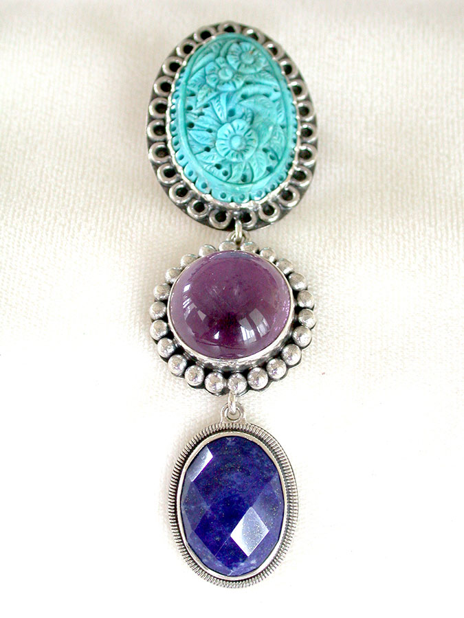 Amy Kahn Russell Online Trunk Show: Carved Turquoise, Amethyst & Lapis Lazuli Pin/Pendant | Rendezvous Gallery