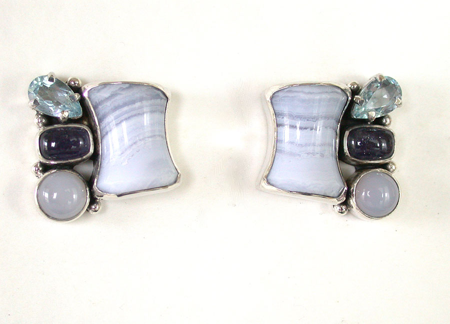 Amy Kahn Russell Online Trunk Show: Blue Lace Agate, Blue Topaz, Amethyst & Chalcedony Post Earrings | Rendezvous Gallery