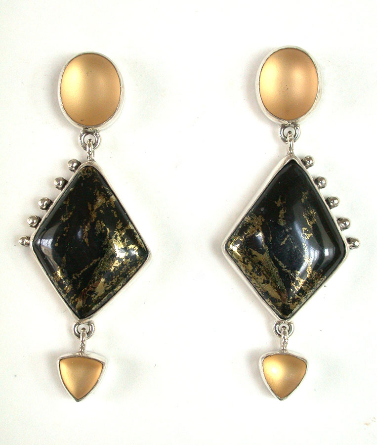 Amy Kahn Russell Online Trunk Show: Quartz & Chalco Pyrite Post Earrings | Rendezvous Gallery
