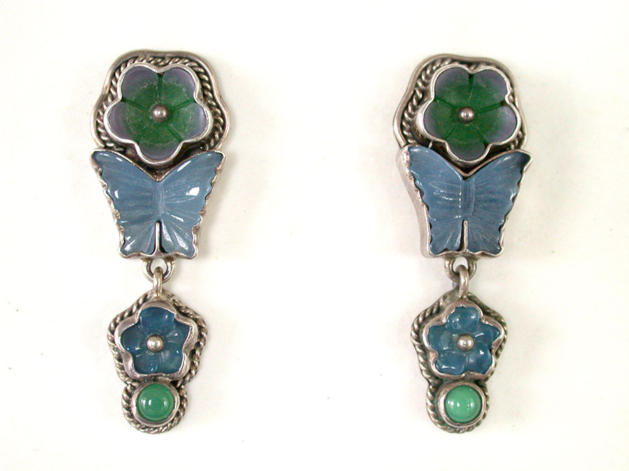 Amy Kahn Russell Online Trunk Show: Carved Chrysoprase & Agate Post Earrings | Rendezvous Gallery
