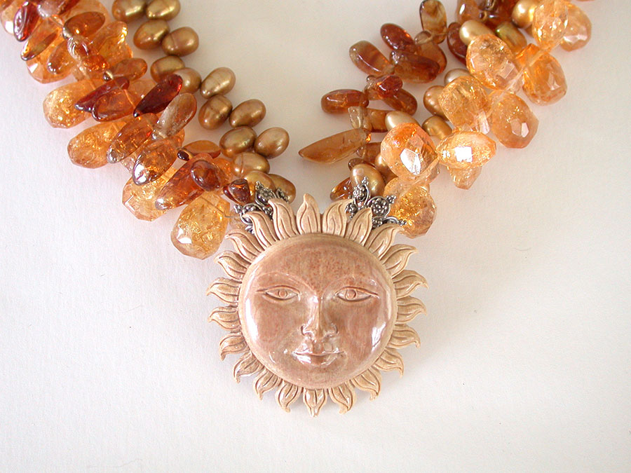 Amy Kahn Russell Online Trunk Show: Carved Sun, Citrine & Freshwater Pearl Necklace | Rendezvous Gallery