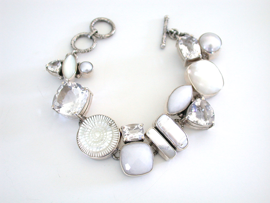 Amy Kahn Russell Online Trunk Show: Mother of Pearl, Pearl, Quartz & Calcite Bracelet | Rendezvous Gallery