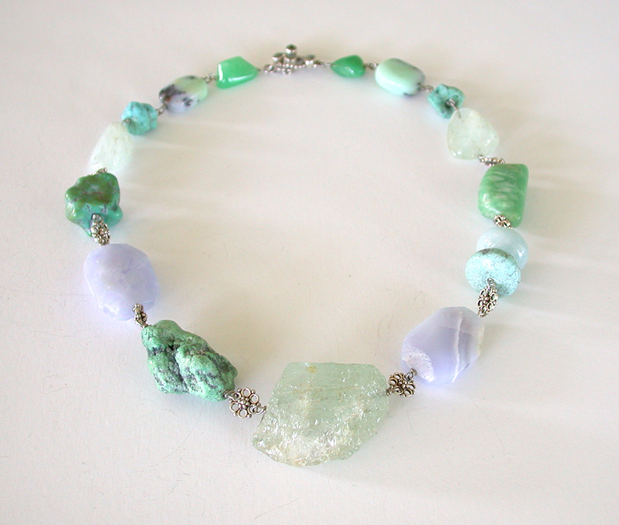 Amy Kahn Russell Online Trunk Show: Aquamarine, Morganite, Blue Lace Agate & Turquoise Necklace | Rendezvous Gallery
