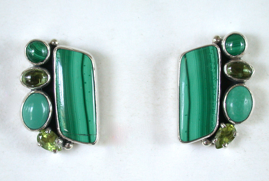 Amy Kahn Russell Online Trunk Show: Malachite, Peridot & Turquoise Post Earrings | Rendezvous Gallery