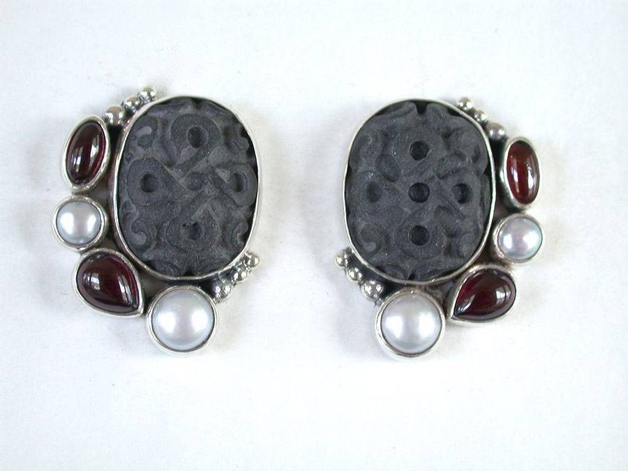 Amy Kahn Russell Online Trunk Show: Carved Stone, Garnet & Freshwater Pearl Clip Earrings | Rendezvous Gallery