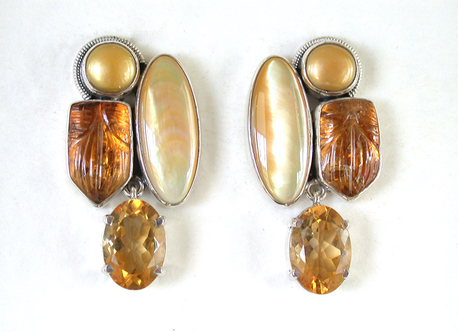 Amy Kahn Russell Online Trunk Show: Freshwater Pearl, Mother of Pearl, Carved Baltic Amber & Citrine Clip Earrings | Rendezvous Gallery