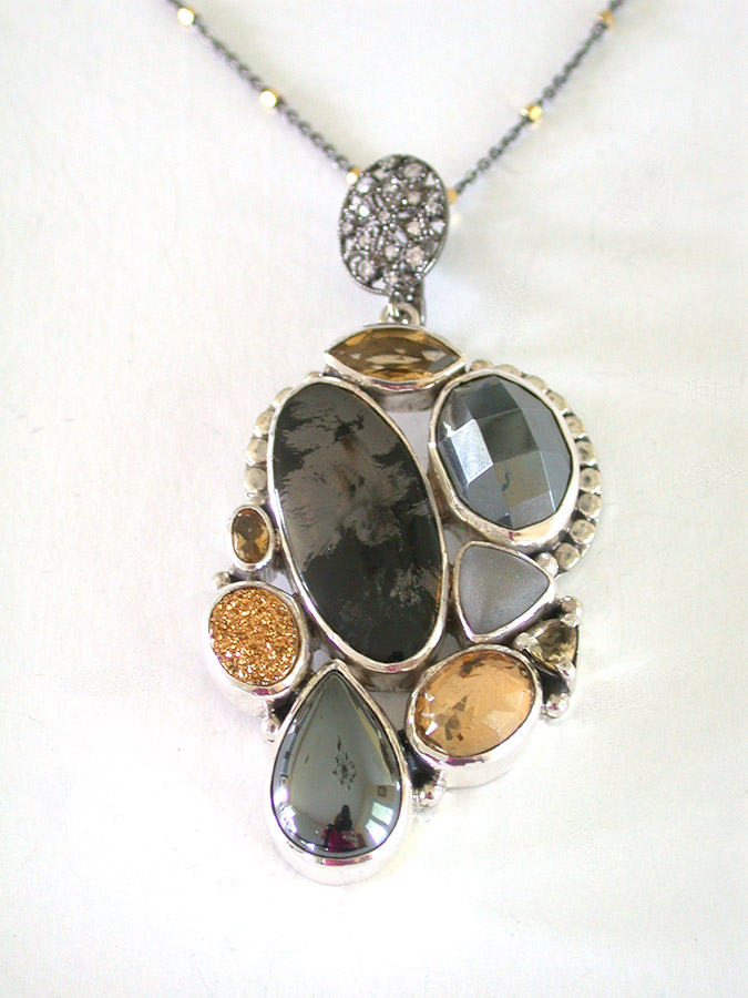 Amy Kahn Russell Online Trunk Show: Citrine, Quartz, Hematite & Drusy Necklace | Rendezvous Gallery