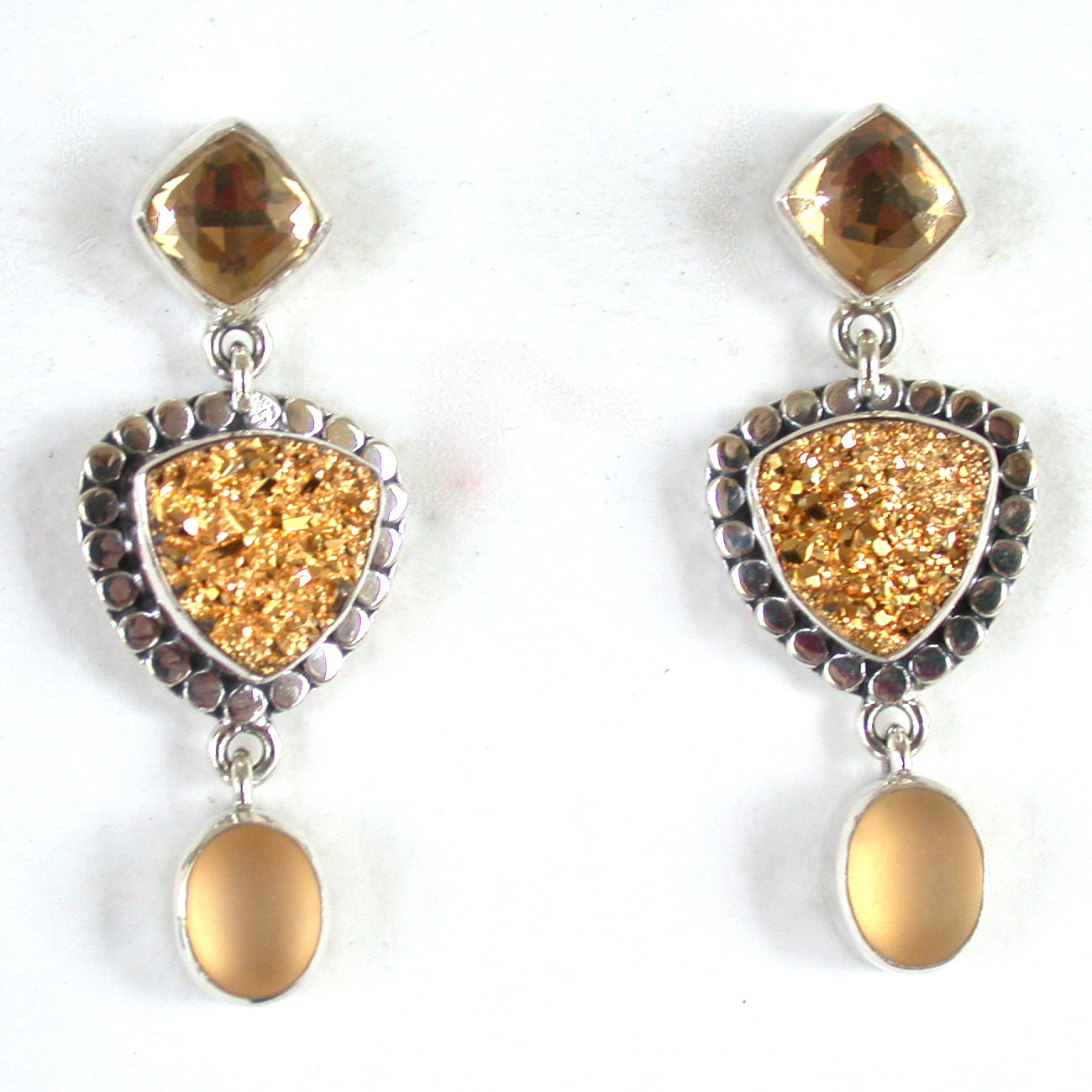 Amy Kahn Russell Online Trunk Show: Quartz & Gold-Plated Drusy Post Earrings | Rendezvous Gallery