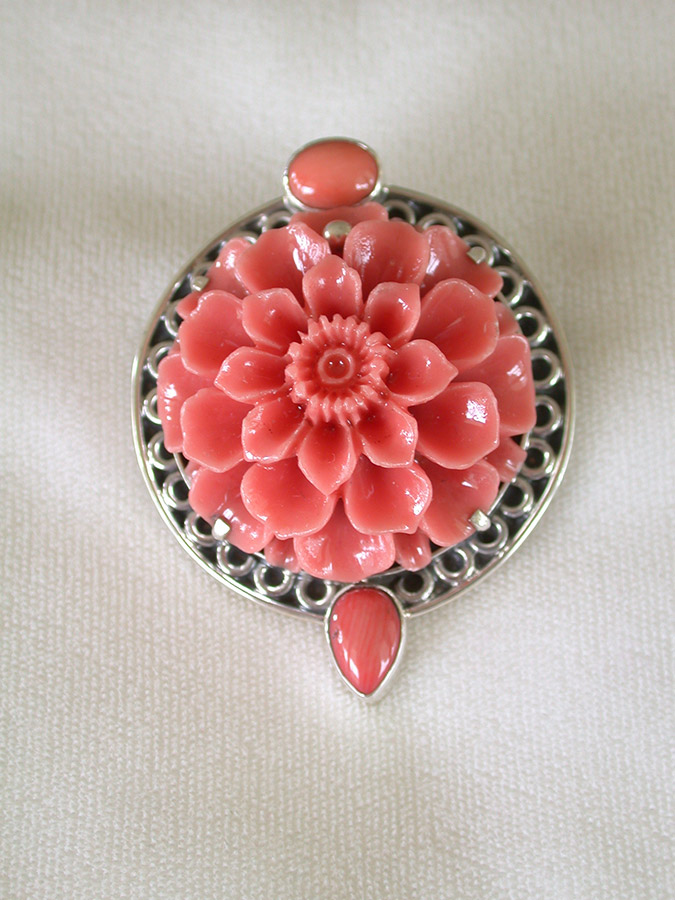 Amy Kahn Russell Online Trunk Show: Coral & Carved Lucite Pin/Pendant | Rendezvous Gallery