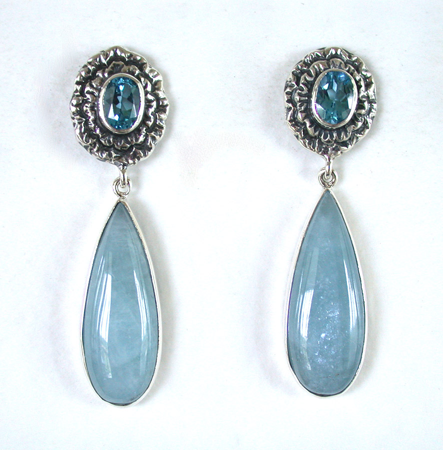 Amy Kahn Russell Online Trunk Show: Blue Quartz & Aquamarine Post Earrings | Rendezvous Gallery