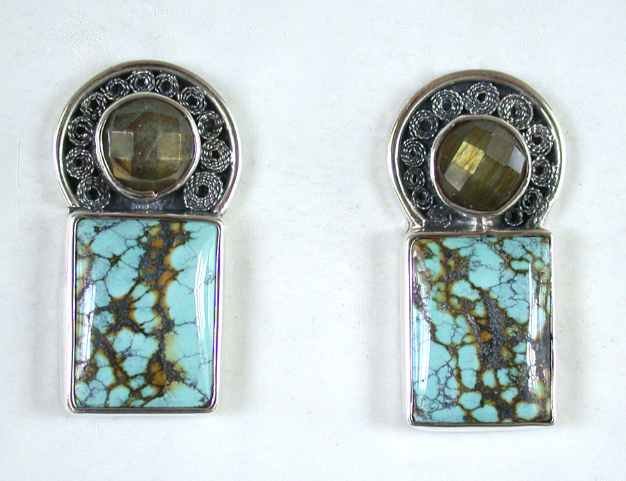 Amy Kahn Russell Online Trunk Show: Sterling Silver & Turquoise Clip Earrings | Rendezvous Gallery